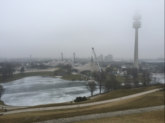 View of Olympiapark from Olympiaturm in Winter